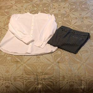 LOFT popcorn stitch button down white blouse S